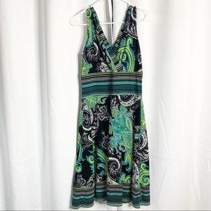 Rabbit designs paisley faux wrap green black 6